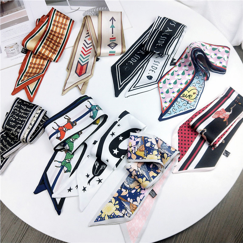 Narrow Long Small Scarf DIY Print Satin Bag Wrist Ribbon Hair Band Hair Scarves Women's Hair Tie Band Wrap Handkerchief
