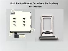 10 Bộ/lô Dual Sim Đầu Đọc Thẻ Cổng Kết Nối Cáp Mềm + Khay Sim Khe Cắm Cho Iphone 11