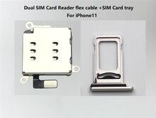 10 set/lotto Dual Lettore di Sim Card connettore del Cavo Della Flessione + Sim Card Vassoio della Fessura Del Supporto Per il iPhone 11