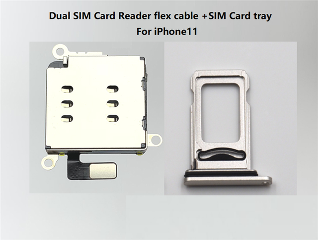 10set/lot Dual Sim Card Reader connector Flex Cable + Sim Card Tray Slot Holder For iPhone 11