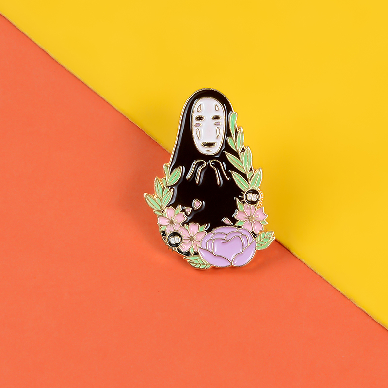 Black ghost Enamel Pin Spirit Among The Flowers Brooch Pin Anime Badges Lapel Hat Backpack Pin Cartoon Jewelry Gifts