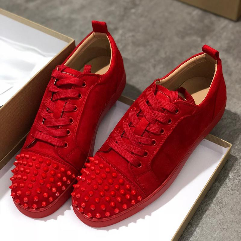 2020 Designer Sneakers Red Bottom shoes Low Cut Suede spikes Luxury Shoes For Men Women Shoes Party Wedding Leather Sneakers