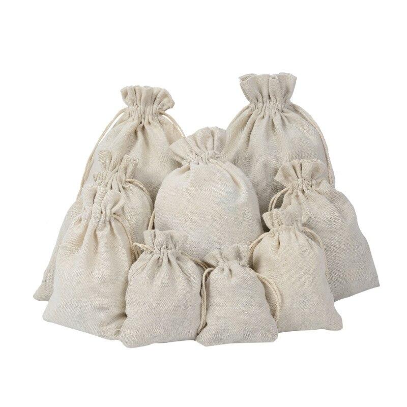 10 teile/los Multi Größe Wiederverwendbare Baumwolle Kordelzug Geschenk Tasche Hochzeit Weihnachten Verwenden Beutel Lagerung Charms Schmuck Verpackung Leinen Tasche