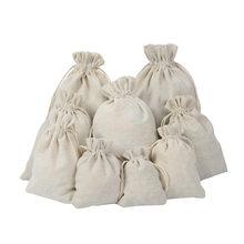Sac cadeau à cordon réutilisable en coton, 10 pièces/lot, sac de rangement pour breloques, emballage de bijoux, en lin, pour mariage, noël