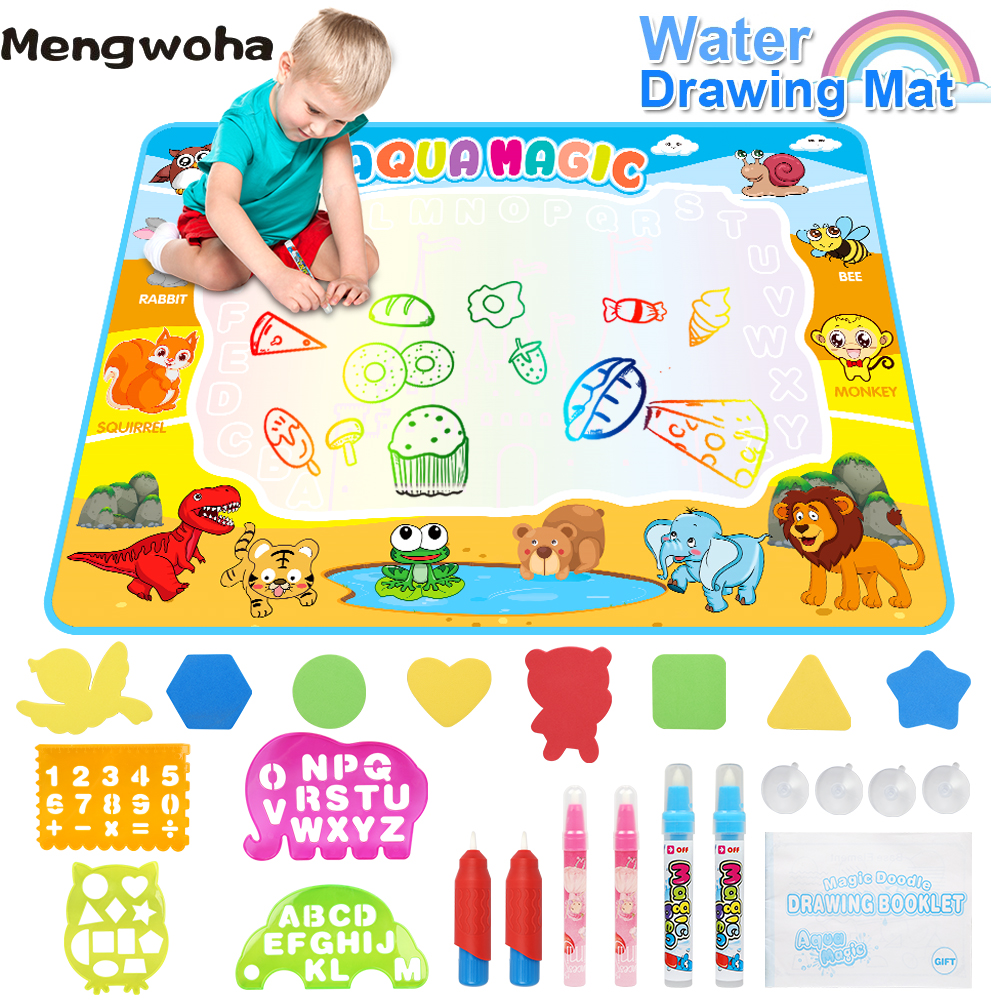 110x78cm Large Size Coloring Water Drawing Mat Painting Writing Mat Doodle With Magic Pen Educational Toys For Children Rug Gift