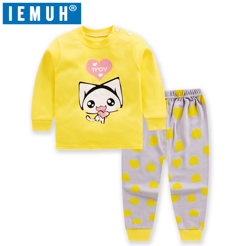 IEMUH Autumn Baby Kids Girls Boys Cartoon Print Outfits Set Long Sleeve Blouse Tops+Pants Sleepwear Pajamas
