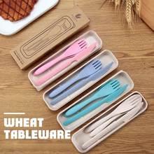 3pcs/set Travel Cutlery Portable Cutlery Box Japan Style Wheat Straw Knife Fork Spoon Student Dinnerware Sets Kitchen Gadget Set