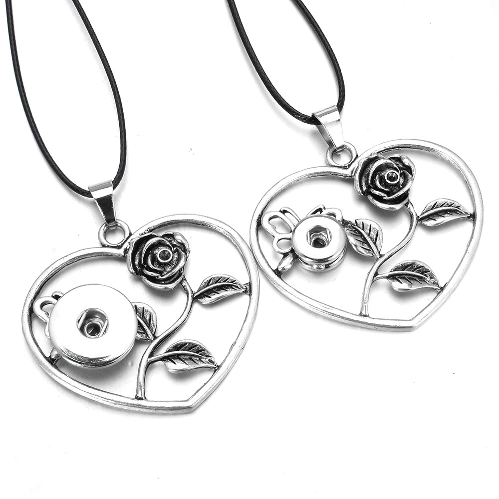 Simple Classic Snap pendant Necklace Butterfly Rose Flower Necklace Fit 12MM 18MM Snap Button Jewelry Choker Necklace For Women image