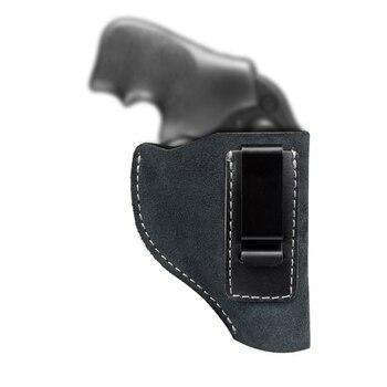 Funda de pistola oculta de cuero de vaca IWB funda de cintura funda de pistola para mano derecha se adapta a la mayoría de los giratorios Ruger LCR Smith