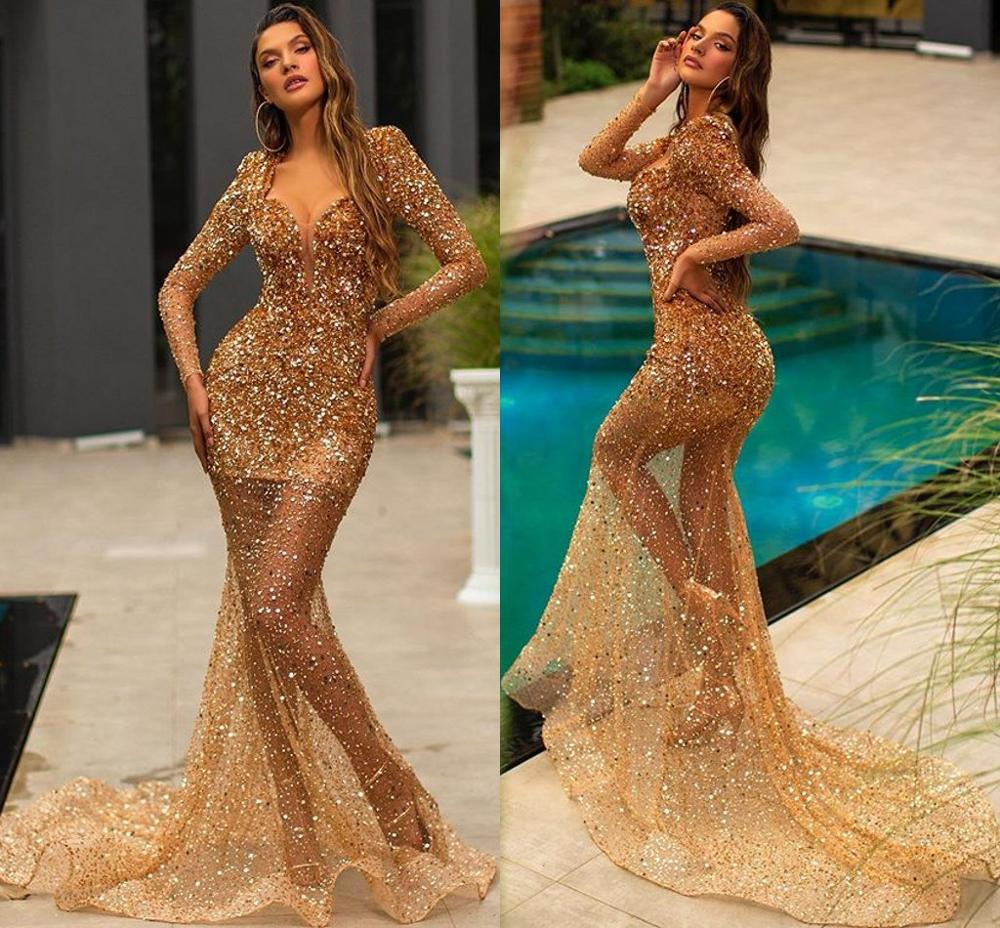 2020 Sparkly Gold Mermaid Prom Dresses Plunging Neck Lace Sequins Long Sleeve Evening Gowns Custom Made Sexy Robes De Mariée