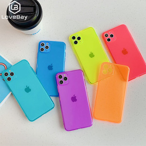 Lovebay Neon Fluorescent Solid Color Cover For iPhone SE 2020 11 Pro Max Soft TPU Clear Cover For iPhone 7 8 Plus X XR Xs Max(China)