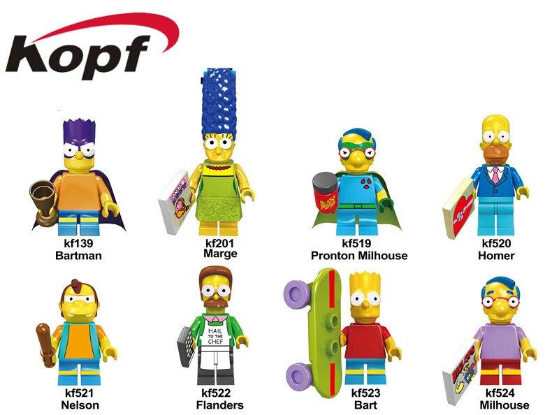 KF6039 Building Blocks The Simpsons Family Figures Homer Nelson Pronton Bart Milhouse Action Bricks Doll Gift For Children Toys