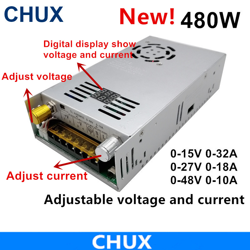 480W Adjustable Switching Power Supply With Digital Display Power Supply For LED DC 0-15V 27V 48V