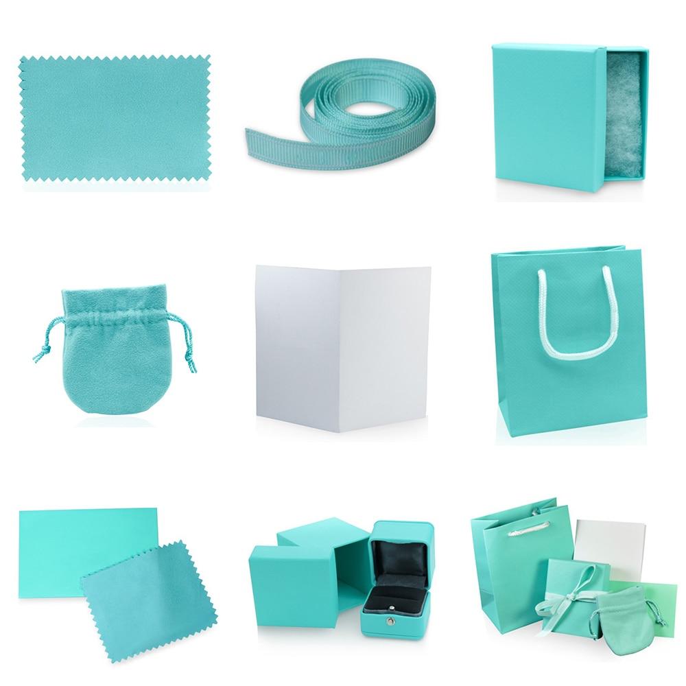 NEW Charm TIFF Original Classic Bracelet Ring Earrings Jewelry Gift Protection Box Set Ornament Bag Handbag Wipe Cloth Fashion