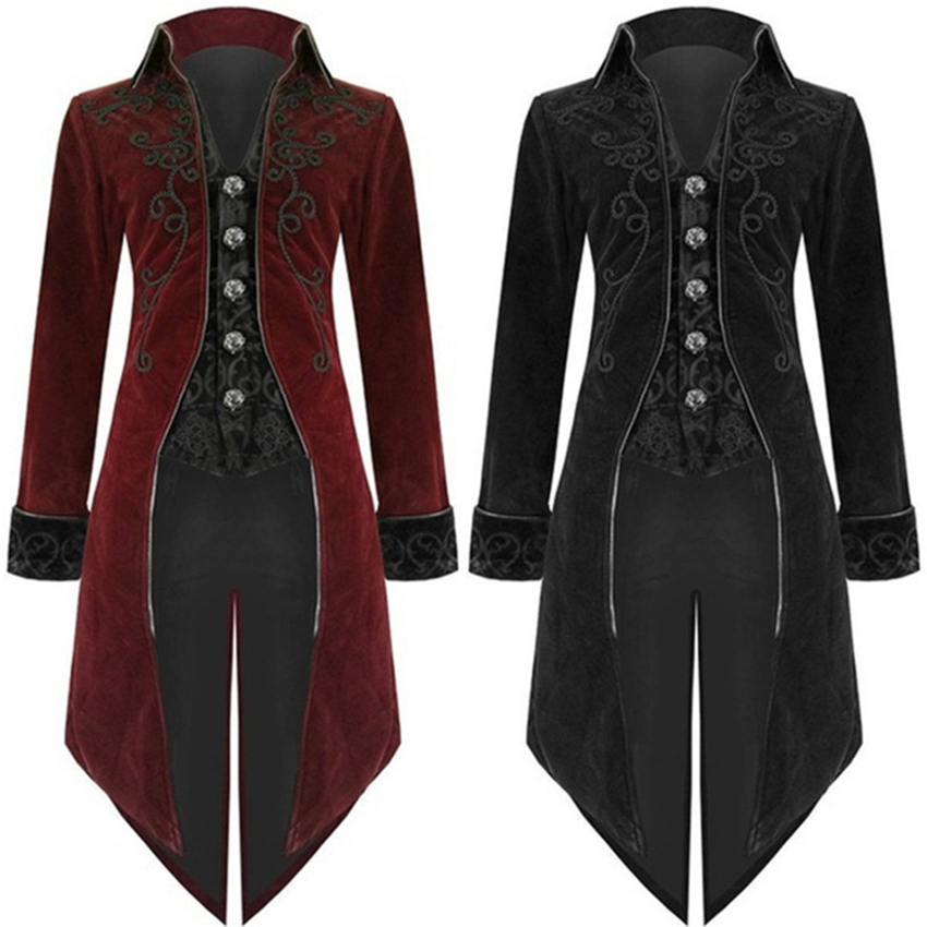 2020 New Halloween Carnival Gothic Coat For Men Medieval Cosplay Mens Party Tuxedo Punk Adult Clothing Middle Ages Costumes