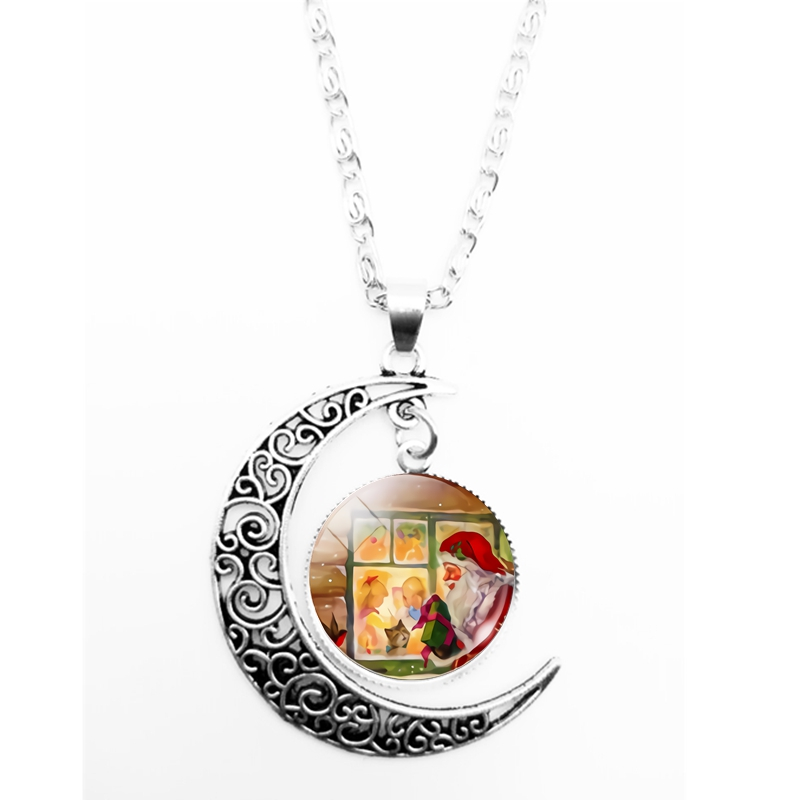 HOT 2019 New Christmas Tree Santa Claus and Deer Pattern Series Glass Convex Fashion Ladies Pendant Necklace Jewelry Gifts in Pendant Necklaces from Jewelry Accessories