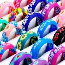 10 pçs por atacado cor misturada anéis de argila macia crianças moda jóias anel presentes
