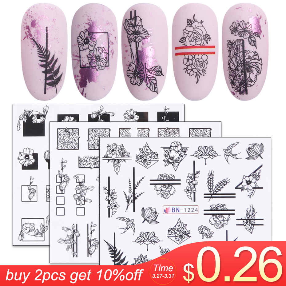 1pcs Black White Flowers Stickers For Nails Green Leaves Water Decal Slider Nail Art Wraps Manicure Decor Tattoo LABN1213-1224-1
