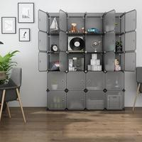 20 Cube Organizer Stackable Plastic Storage Shelves Multifunctional Modular Closet Cabinet Bedroom Living Room 1 clothes rails