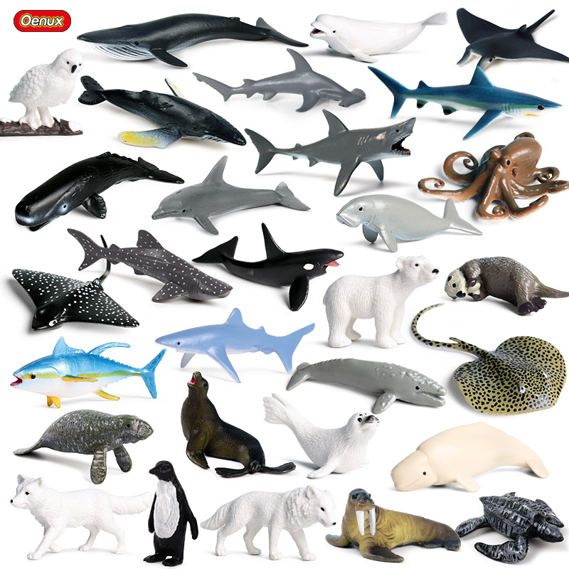 Oenux 30pcs Mini Sea Life Shark Whale Penguin Dolphin Turtle Rays Model Marine Ocean Animal Action Figures Miniature Kids Toy image