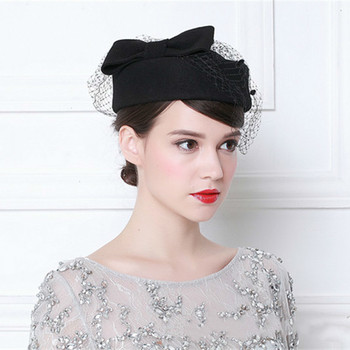 цена на Vintage French Wool Women Beret Winter Felt Hat With Bow Flat Top Hats Lady Stewardess Cap Fedoras Chapeau Femme Feutre