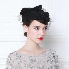 Vintage francuski wełny kobiet Beret zimowy filcowy kapelusz z kokardą czapki z płaskim wierzchem pani stewardesa czapka Fedoras Chapeau Femme Feutre
