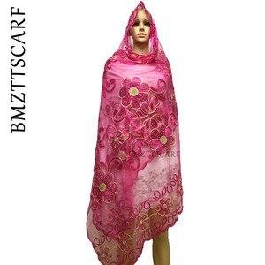 Image 5 - New african sciarpe, 2019 Musulmano delle donne del ricamo grande rete sciarpa, netto sciarpa morbida sciarpa di Formato 210*110 centimetri per Scialli Stole