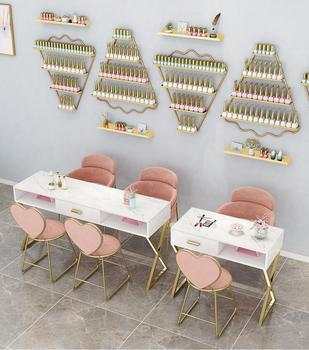 Netto czerwony marmurowy stół do Manicure i zestaw krzeseł ekonomiczny pojedynczy podwójny stół do Manicure stół do Manicure tanie i dobre opinie Andessoer CN (pochodzenie) Salon mebli Stół paznokci Meble sklepowe