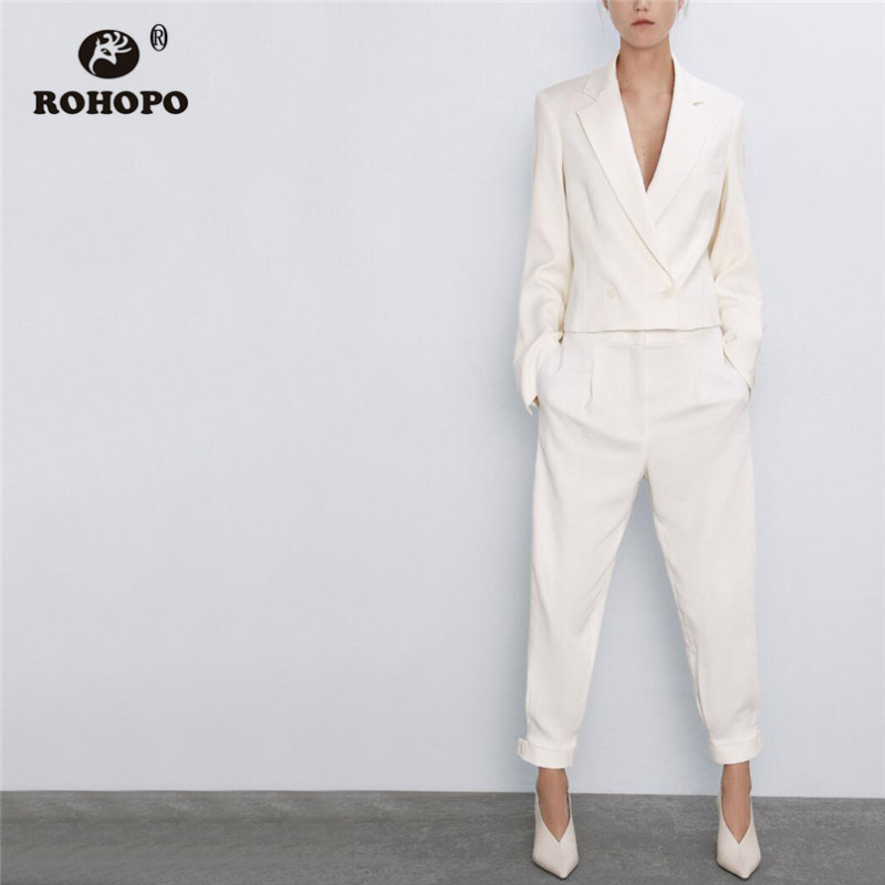 ROHOPO V Lapel Collar Double Buttons Slim White Blazer Top Welted Pockets Buttons Cuff Solid White Outwear #2341