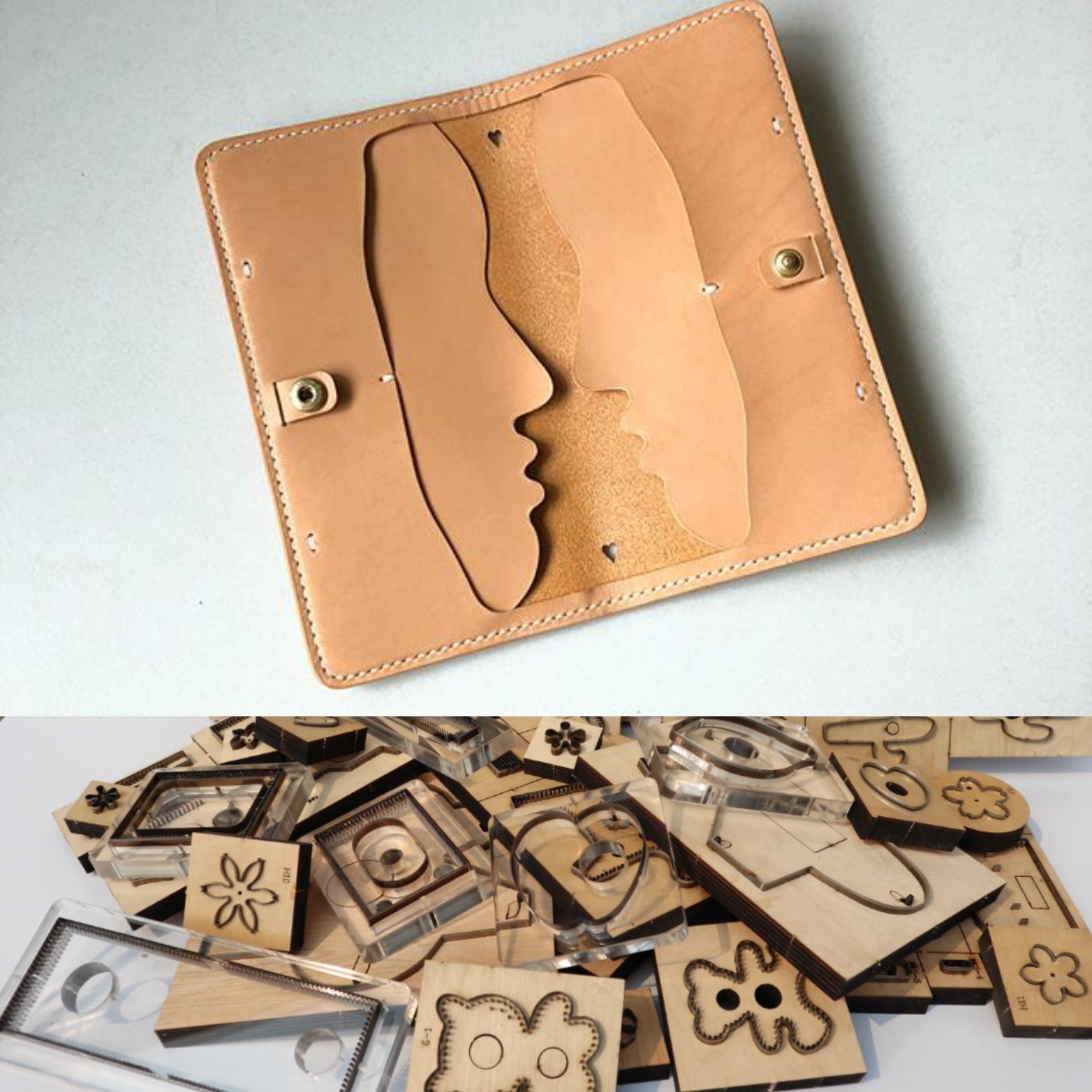 Cuir découpé pour artisanat cuir bricolage Valentine visage humain Long portefeuille découpe couteau moule creux perforateur Machine 200x95mm