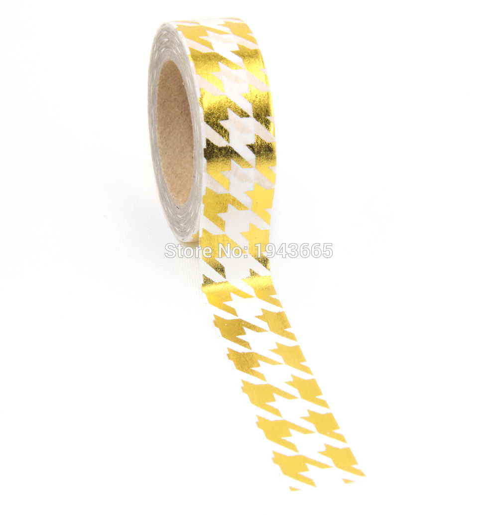 Купить с кэшбэком High quality Gold foil 10m paper tape dot,strip,pineapple,heart Christmas decorative washi tape 1pcs