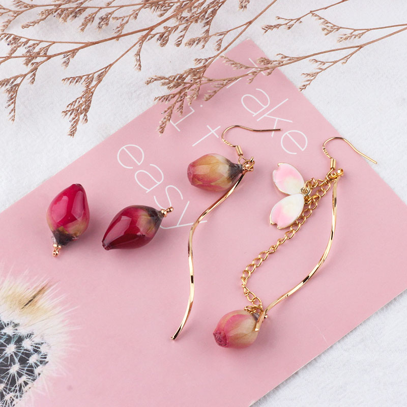 DIY Ornament Accessories Real Flowers Dried Flower Rose Bud Epoxy Semi-Finished Ear Stud Earrings Accessories Material
