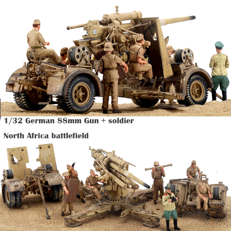 fine  1/32  German 88mm  Gun + soldier  North Africa battlefield  Finished product model collection model