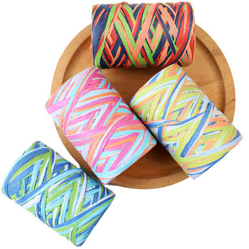 4rolls 320m Handmade Colorful Lafite paper rope decorative rope for gift bouquet packaging Roaps Xmas Home Party Decoration image