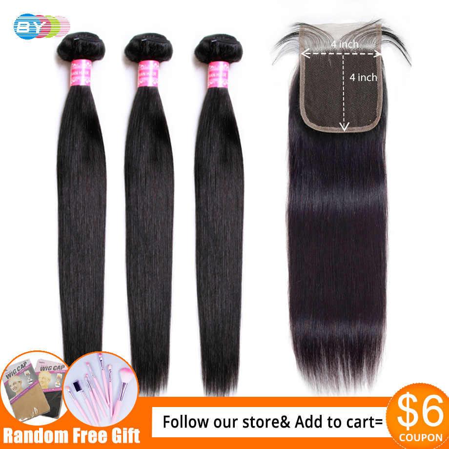 3 mechones malasios con cierre mechones de pelo lacio con cierre Color Natural Remy mechones de cabello humano con cierre por cabello