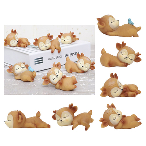 Deer Figurines Toys Home Decor Resin Ornament Cake Topper Party Desktop Decoration for Birthday Gifts