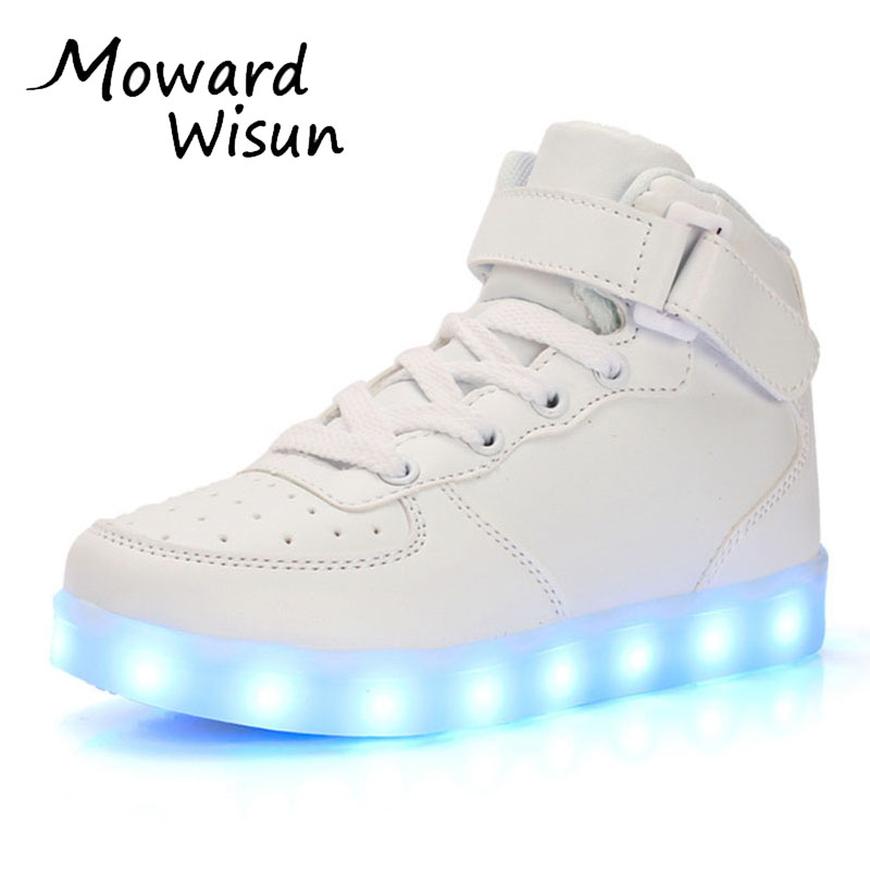 Spansee Fashion Good Quality Children LED Shoes With Light Up Glowing Luminous Shoes For Kids Boys Girls Baskets LED Slippers 25