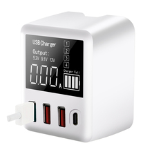 gocomma travel charger kit type c usb adapter QC3.0 Fast Charging Travel Wall Charger Type C USB Charger 4 Ports Smartphones Adapter 40W LED Display for iPhone Samsung