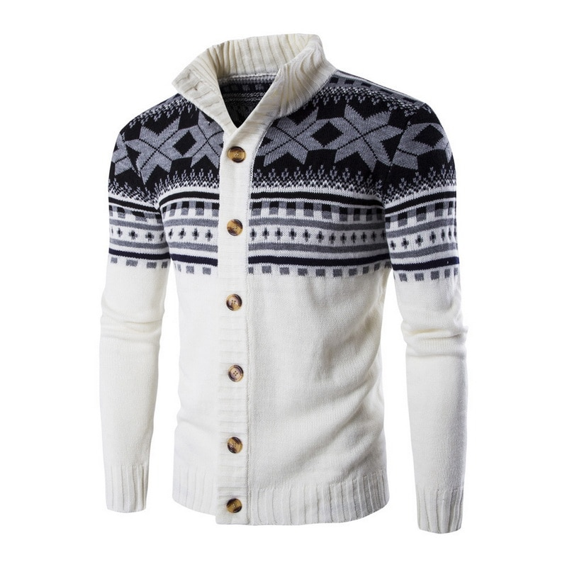 Mens Cardigan Sweaters New Year Autumn Warm Christmas Sweater Knitwears Men Fashion Printed Casual Stand Collar Knitting Outwear