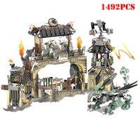 1492PCS Ninjagoe Series Heavy Dragon Base Camp Castle Building Blocks Compatible Legoed Ninja Figures DIY Bricks Toys For Child