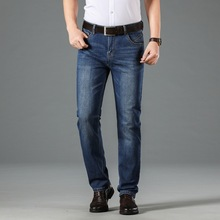 2020 Newly Fashion Men Jeans Dark Blue Straight Fit Classical Casual Business Long Pants Vintage Smart Elastic