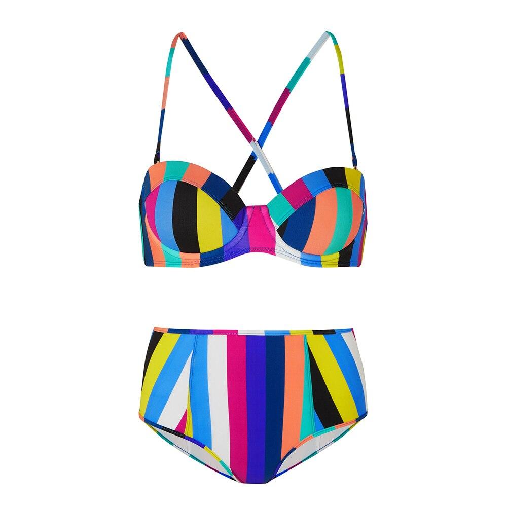 Women Two Piece Bikini Set Push-Up Padded Swimwear Rainbow Striped Bikini Swimsuit Sexy Bathing Suit Biquini Maillot De Bain D30