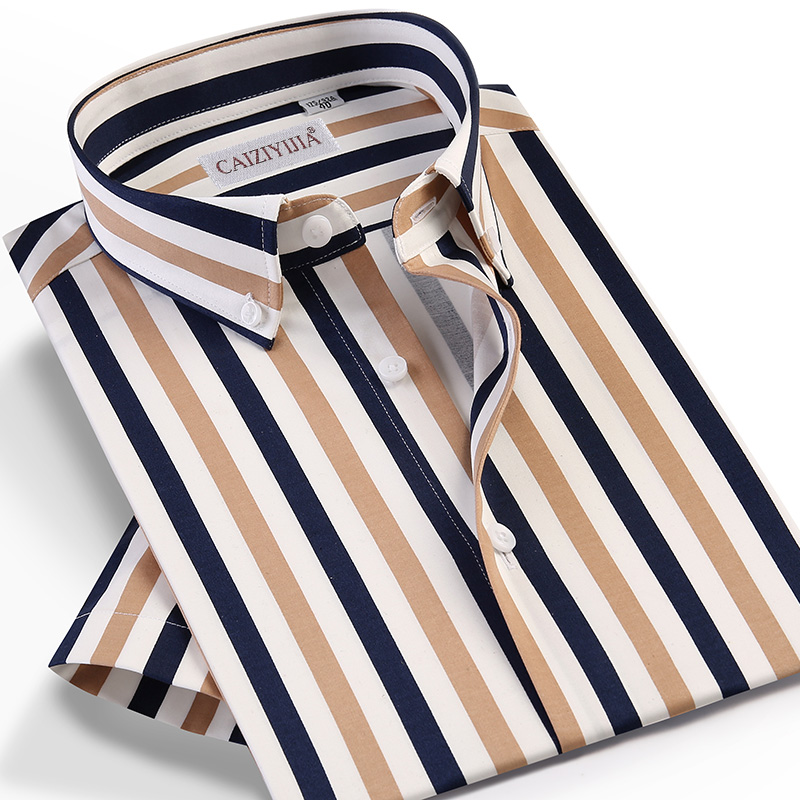 Men's Fashion Multi-Color Striped Short Sleeve Shirts Pocket-less Design Button-down Standard-fit Summer Style Casual Tops Shirt