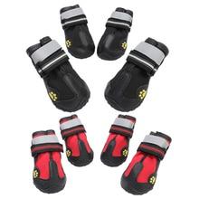 4pcs Reflective Dog Shoes Socks Winter Boots Footwear Rain Wear Non-Slip Anti Skid Pet for Medium Large Dogs