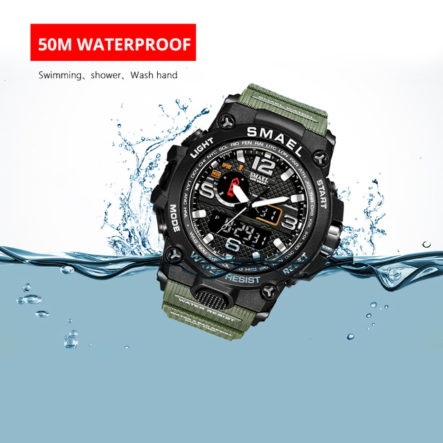 Men Military Watch 50m Waterproof Wristwatch LED Quartz 3