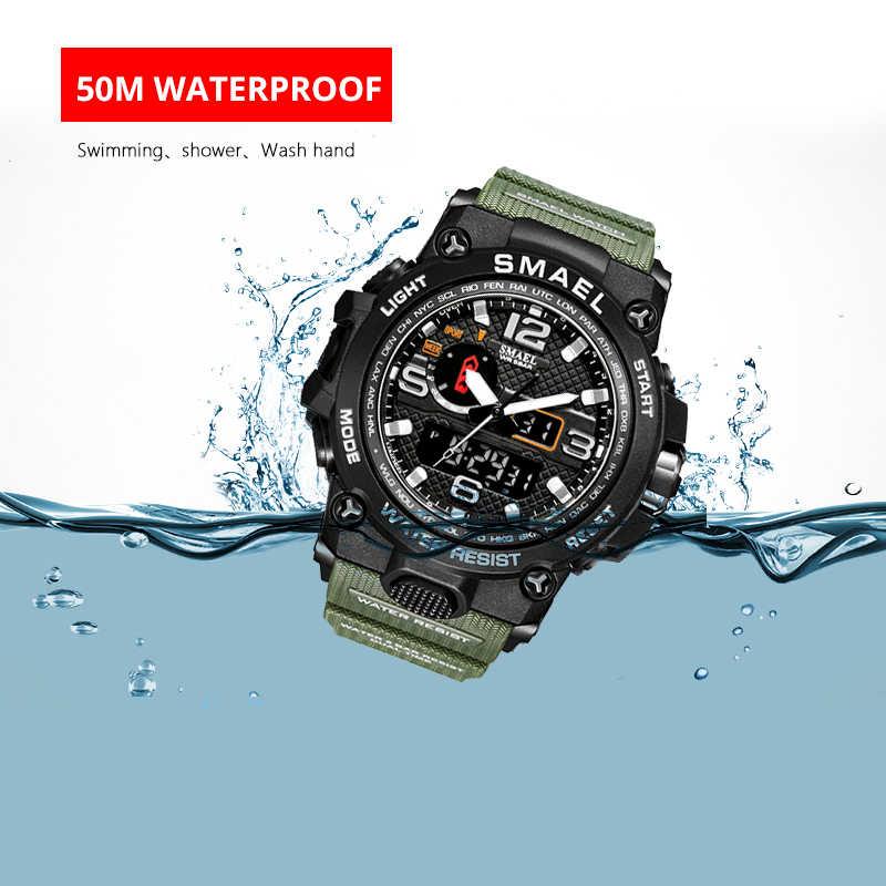 الرجال العسكرية ساعة 50 متر مقاوم للماء ساعة اليد LED كوارتز ساعة الرياضة ساعة الذكور relogios masculino 1545 الرياضة ساعة الرجال S صدمة