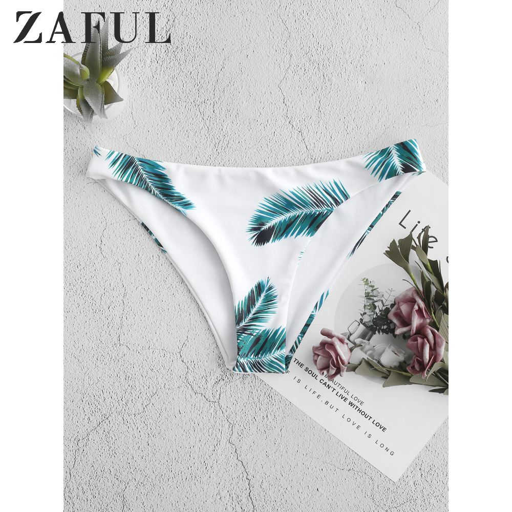 ZAFUL Tropical Palm Leaf Print Bikini Bottom Bathing Suit Bottoms White Low Waisted Briefs A Minimalist Slip-On Swimsuit Bottom