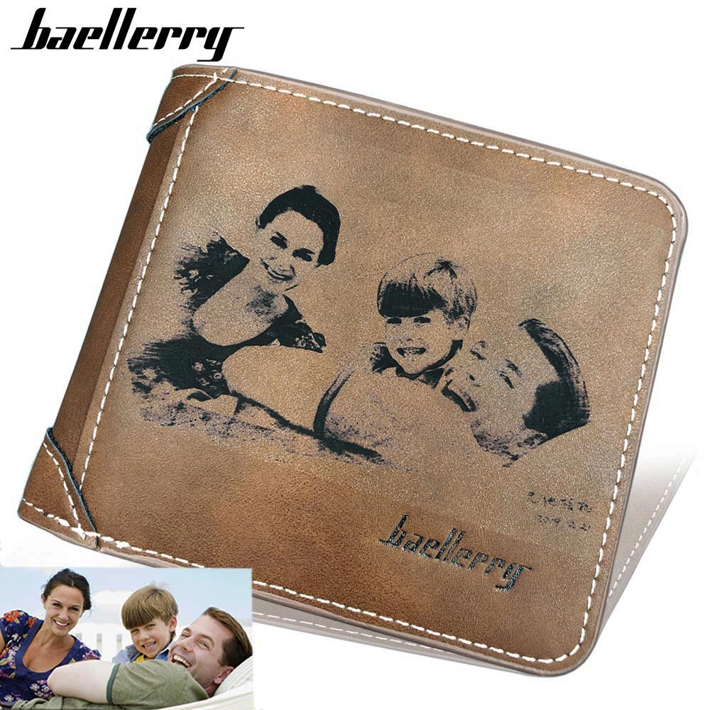 Photo Engraving PU Leather Men Wallets  Card Holder Photo Holder Short Casual Male Purse Note Compartmen Male Purse Top Quality