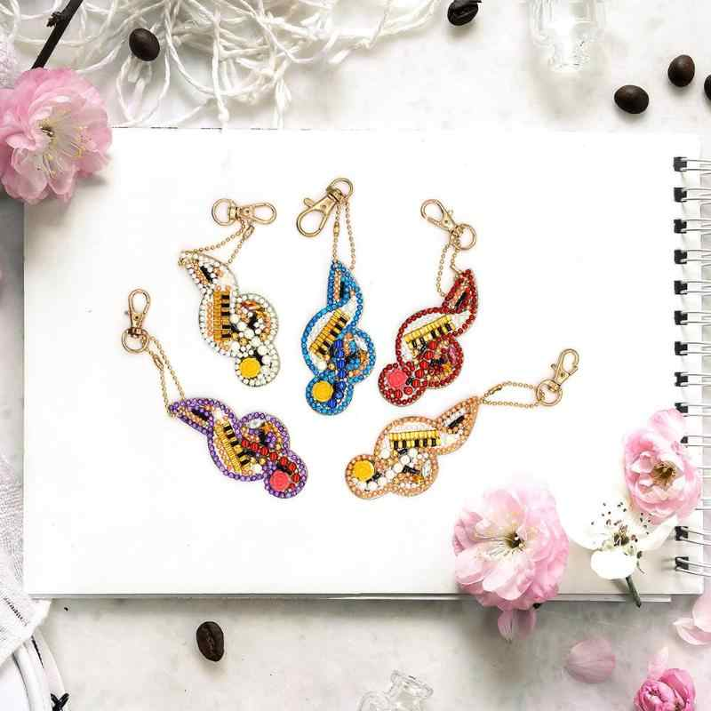 Diamond Paintng Special-Shaped Musical Notes Key Chains 5pcs DIY Full Drill