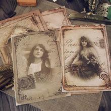 8 arkuszy Vintage wiktoriański dziewczyna naklejki stara książka strona styl naklejki na pamiętnik Scrapbooking Ablum naklejki na etykiety papiernicze